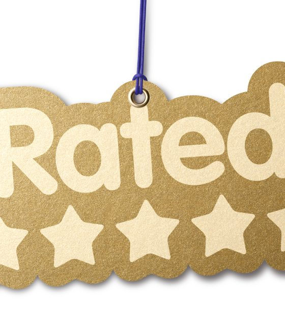 Rated five stars label