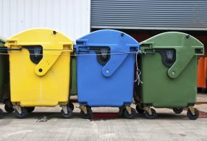 Recycling bins rubbish street
