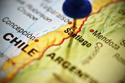 Santiago Chile pushpin map