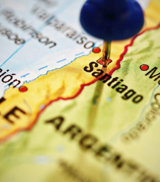 Santiago Chile pushpin map