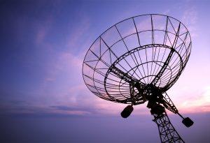 Satellite dishes antenna sunset