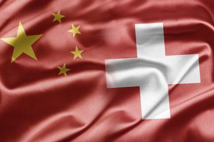 Swiss Chinese flag silk