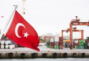 Turkey flag trading harbour commercial dock