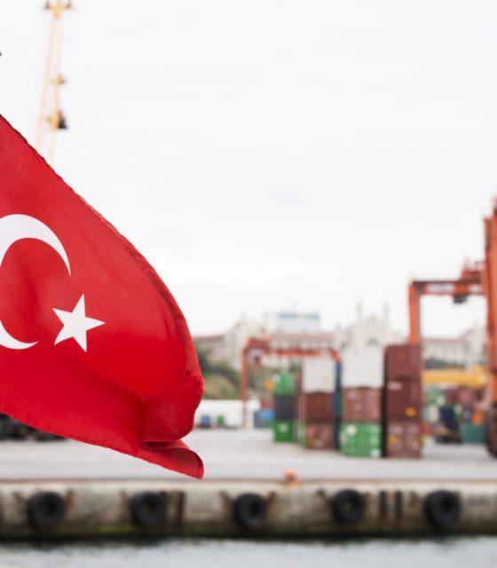 Turkey flag trading harbour commercial dock