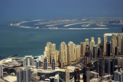UAE Dubai Marina and Palm Air View