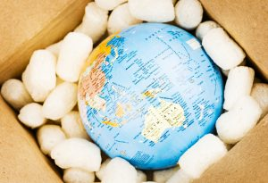 World globe Australia box shipping