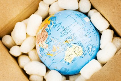 World globe Australia box shipping