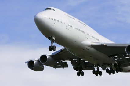 Boeing 747 airliner flying