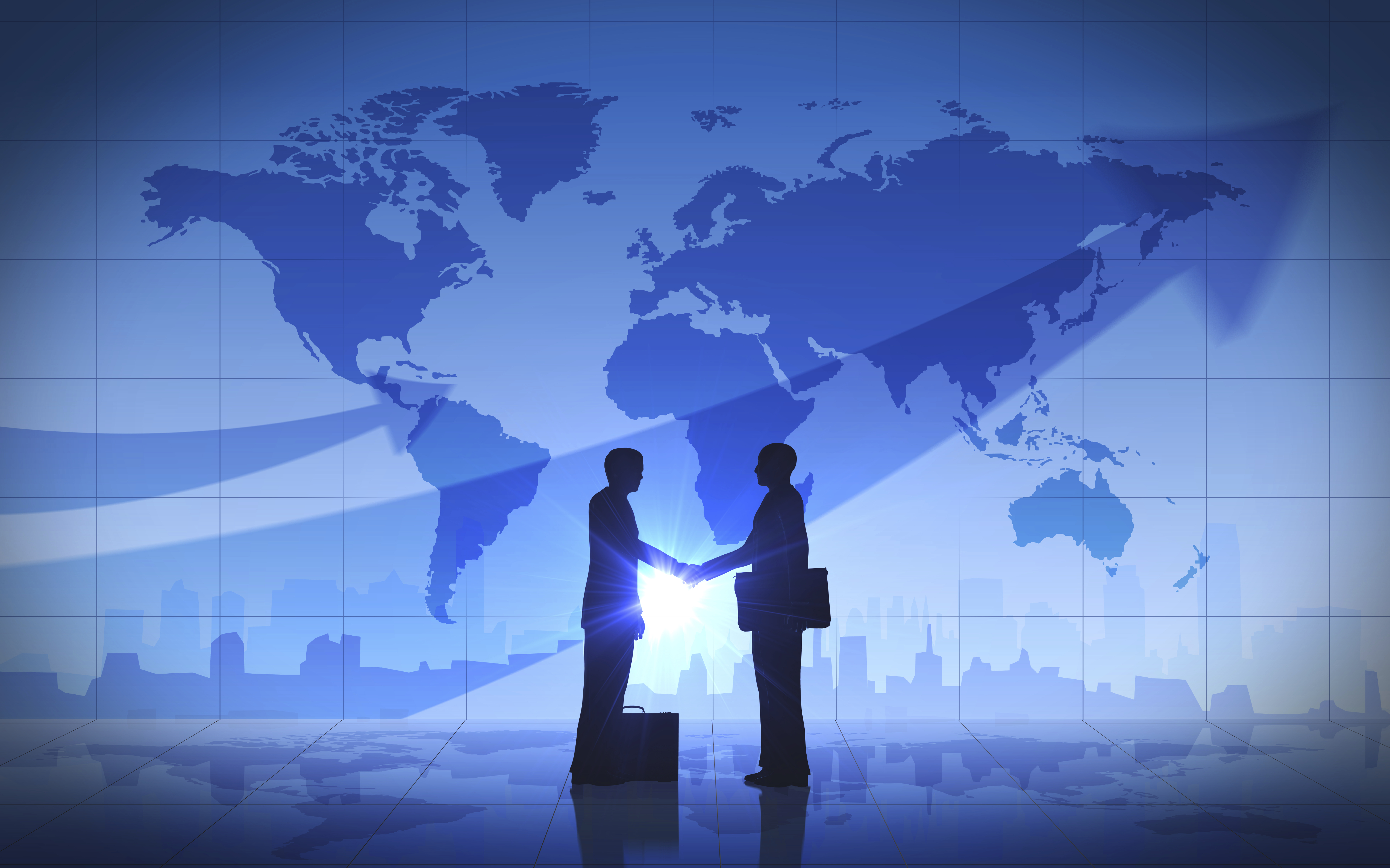 Business man shake hand silhouettes city world map global trade business man shake hand silhouettes city world map business man shake hand silhouettes city world map gumiabroncs Image collections