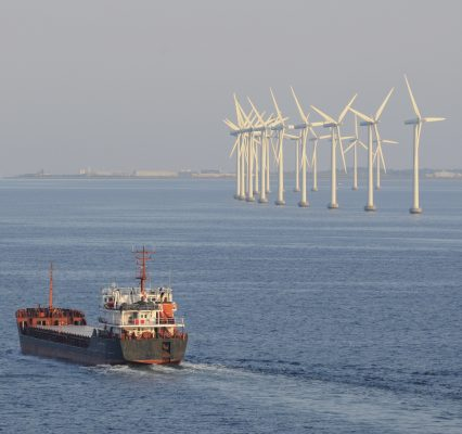 Copenhagen Windfarm Wind Turbines Ship