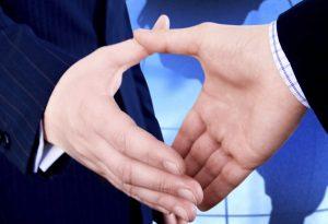 Global Business Handshake Map
