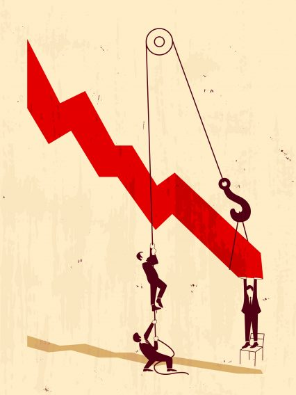 Graph Down Finance Illustration