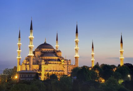 Illuminated Sultan Ahmed Mosque during the blue hour