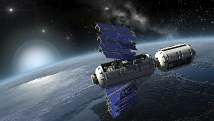 Satellite Surveying Earth Space Station