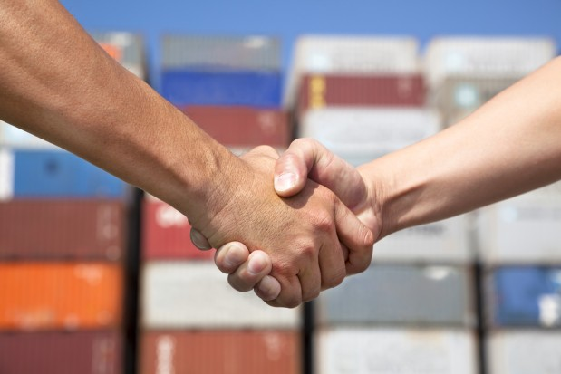 Handshaking Cargo Container