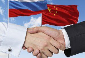 China Russia Flags Handshake