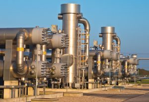 Natural-gas-processing-site-during-sunset