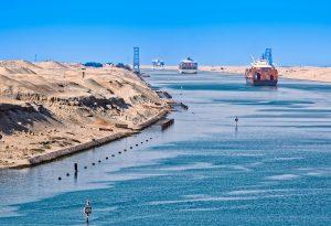 Suez Canal Cairo Egypt Sand Ship Convoy