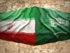 Waving Saudi Arabia Iran Flag Map World
