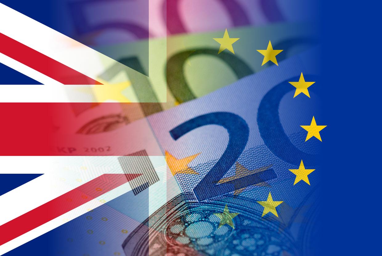 United Kingdom European Union Flags Euro Banknote