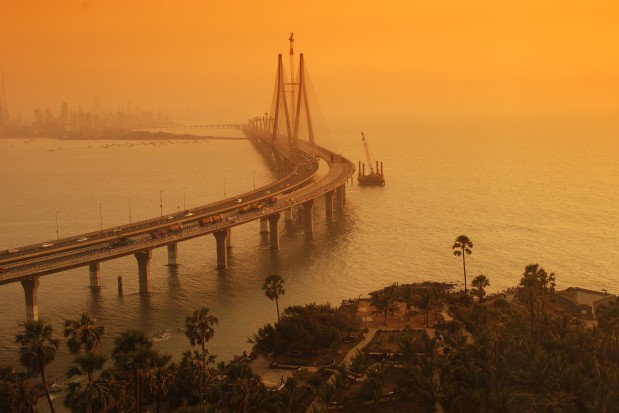 Top angle view of Bandra-Worli Sea Link, Mumbai at  dusk alongside Arabian sea. Copy space