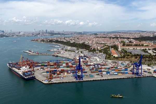 Aerial view of container port and ship in Haydarpasa, Istanbul, Turkey.